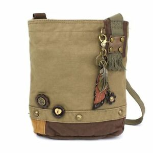 New Chala Handbag Patch Cross body Metal FEATHER Olive Green Bag Canvas  gift