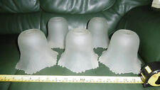Vintage art deco style frosted glass light/lamp shades x 5 pls see pic's