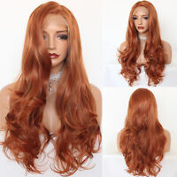 Women's Long Natural Wave Orange Synthetic Lace Front Wigs Heat Resistant Hair