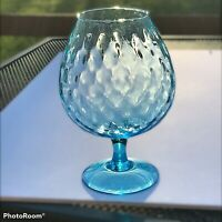 "MCM Empoli Italian Glass Hand Blown Optic Aqua Blue 8.75"" Brandy Snifter Vase"