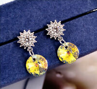 Lady 925 Sterling Silver 8MM Genuine Elements Crystal Drop Dangle Stud Earrings