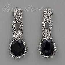 Alloy Black Jet Crystal Rhinestone Drop Dangle Earrings 00154 New