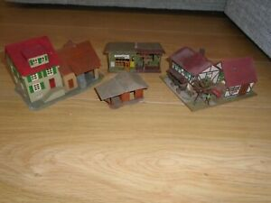 Collection of Plastic Buildings for HO Gauge Model Railway Train Sets