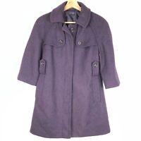 GAP women's pea coat XS dark purple wool blend button front 3/4 sleeves o1601