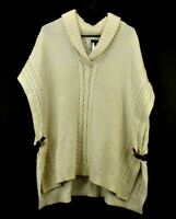 Talbots Women's Medium Long Sleeve Knitted Wool Blend V-Neck Sweater Cream