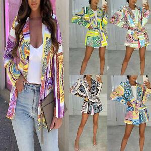 New Womens Scarf Print Blazer Ladies Summer Holiday Fashion Party Jacket Coat