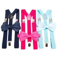 Unisex Men Women Suspenders and Bow Tie Set Adjustable Braces Elastic Y Back
