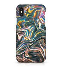 Shiny Metallic Chrome Wavy Rainbow Swirls Printed Effect Phone Case Cover