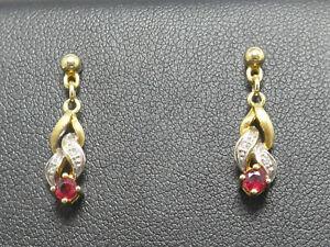 Ohrringe earrings 333 GOLD 8K Gelbgold Ohrhänger Rubin Diamanten diamonds