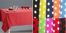POLKA DOT 100% PURE COTTON TABLE CLOTH COVER + NAPKINS LINEN - MANY COLOURS/SIZE