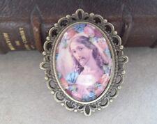 Broche de bronce estilo vintage Jesús 3,5 cm x 3 cm cabujón cristal