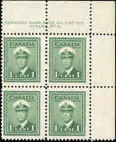 Canada Mint F-VF Scott #249 1942 Block 1c King George VI War Issue Never Hinged