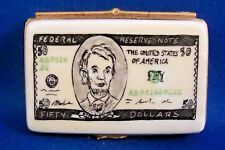 Fifty Dollar Bill -   LIMOGES hinged box