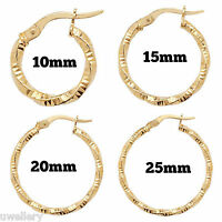 9 carat Yellow Gold Twisted Hoop Creole Ladies Girls Earrings 10mm - 25mm NEW