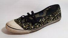 Skechers Black Strappy Mary Jane Wmns 8.5 M Ballet Flat Sneaks Shoe Floral Beige