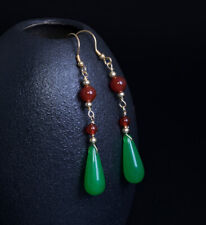 G04 Earring Agate Red Ball Green Drop Sterling Silver 925