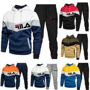 2Pcs FILA Hoodies Mens Tracksuit Set Sweatshirt Pants Bottoms Sport Jogging Sets