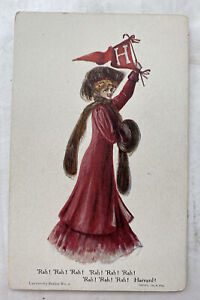 Gorgeous Vintage Harvard University College Girl Postcard! Early 1900s Hill