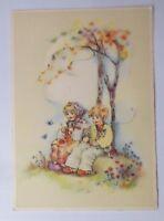 Kinder, Katzen, Stricken, Wiese, 1945  ♥ (66223)