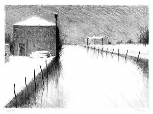 "PAUL FLORA ORIGINAL LITHOGRAPHIE ""Torcello, Schnee"", 1996"