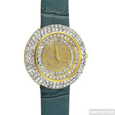 Gold Baguette Bling Iced Out Orbit Watch Blue Leather