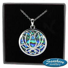 Lotus Flower Necklace Paua Abalone Shell Pendant Silver Fashion Jewellery 18""