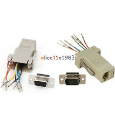 RS232 DB9 Male/Female Plug Connector RJ45 Female Buchse Ethernet Adapter