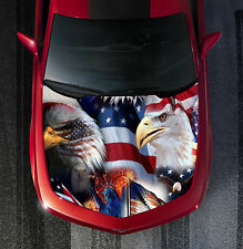 H45 EAGLE AMERICAN FLAG Hood Wrap Wraps Decal Sticker Tint Vinyl Image Graphic