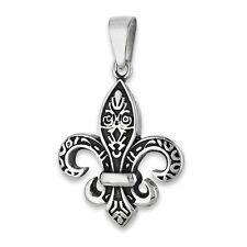 Stainless Steel Saints Fleur-de-Lis Fluer Charm Pendant Jewelry 925 New Orleans