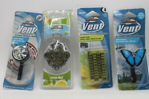 Lot Of 4 Auto Expressions Vent Air Freshener Outdoor Breeze Lemon Mint Lime