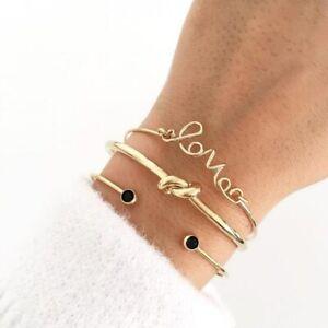 3 xBoho Multilayer Natural Stone Crystal Bangle Beaded Bracelet Womens Jewellery