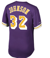 MITCHELL & NESS Los Angeles Lakers #32 Magic Johnson MESH Crew-neck JERSEY NBA