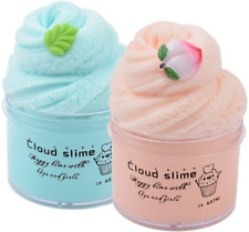 2 Pack Upgrade Mint Leaf Peach Cloud Slime Cotton Slime,Super Soft and Slime Kit