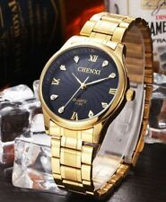 Gold Plated Band Men's Polished Wristwatches