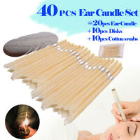 40PCS/Set Scented Beeswax Candle Cleaning Hearing Cone Hollow Wax Ear Kit W/Disk