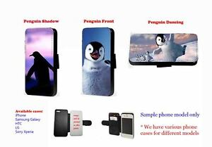 Penguin silhouette Dancing faux leather phone case for iPhone Samsung