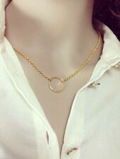 Elegant Simple Charm Ring Karma Circle Gold Short Clavicular Necklace 100087GD