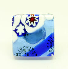 Blue and White Murano Glass Ring With Millefiori From Venice
