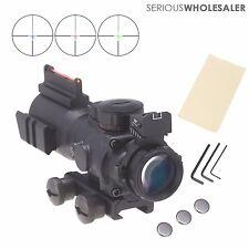 4x32 Prismatic Tri-Illuminated Mil dot Tactical Rifle Scope w/Fiber Optic Sight