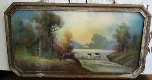Antique Appraised Original 1854-1928 William Henry Chandler Pastel 30 1/2 x 16