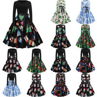 Fashion Womens Vintage Print Long Sleeve Christmas Evening Party Swing Dresses