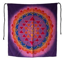 Batik Chakra Sri Yantra tenture murale Mandala Yoga decor rose 52x46cm 25249