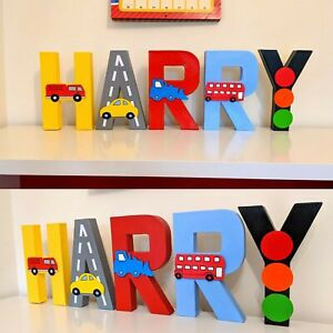 Childrens vehicle themed letters. Nursery boy bedroom car baby mamas kids decor