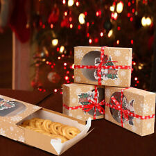24Pcs Christmas Favors Kraft Paper Cookie Gift Boxes with Clear Window