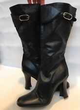 Balenciaga Paris 39.5 Leather Mid Calf Arena Boots Flared Heel Buckle Authentic