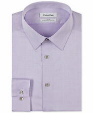 $99 CALVIN KLEIN Men SLIM-FIT PURPLE LONG-SLEEVE BUTTON DRESS SHIRT 17.5 34/35
