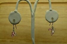 925 STERLING SILVER PINK AND WHITE BEADS FISHHOOK EARRINGS #X-14878