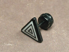 1 Piece Men's Stainless Steel Cool Unique Black Triangle Stud Earring