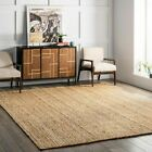 nuLOOM Hand Made Contemporary Modern Simple Braided Jute Area Rug in Natural Tan