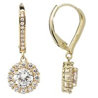 "14K Solid Yellow Gold Leverback Earrings, Round ""Halo"" CZ Drop Dangle, 2.0 CTW"